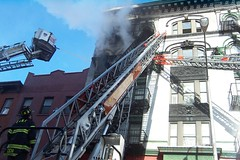 Apartment Fire, Williamsburg (Rob Bellinger) Tags: new york nyc newyork man tower brooklyn fire fighter action smoke aerial williamsburg fireengine ladder hook fdny 104 119 seagrave