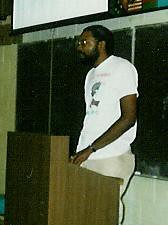 Abayomi Azikiwe at PASU sponsored event on June 14, 1989 at WSU, Detroit. Azikiwe was addressing a seminar on South Africa featuring a representative of the African National Congress. by Pan-African News Wire File Photos