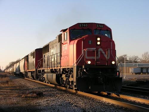 cn train at dusk