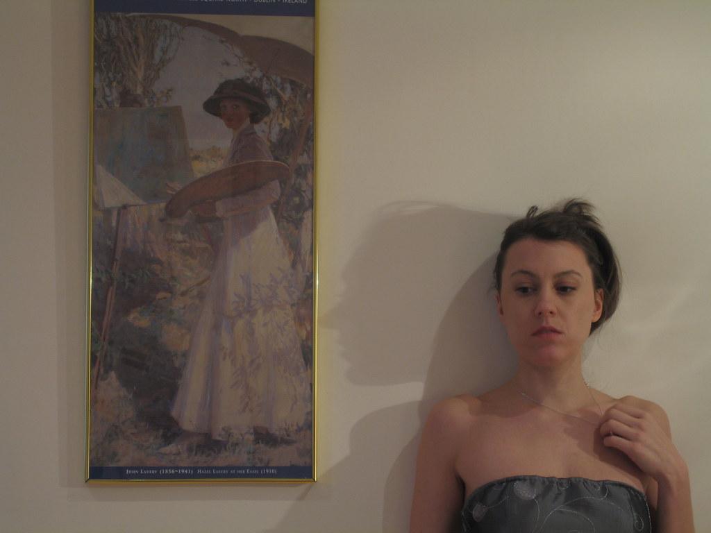 Self portait in grey dress 1