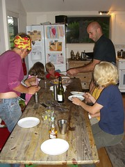 Anke, Richard and Meta getting ready for dinner