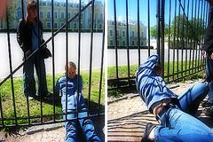 Petergoff: Breaking the Law (gribnik3) Tags: girls photoshop canon stpetersburg spring russia 2006 illegal goingdown ixus50 petergoff