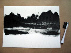 Mountains and Lake by (Bubi Au Yeung) Tags: black ink painting paper drawing bubi toothbrush inkdrawing
