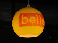 An orange lamp shade