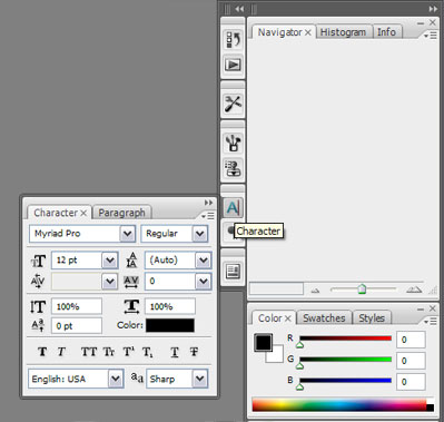 Photoshop CS3 Fontmenu