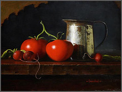 VineTomatoes (dpstevenson2) Tags: stilllife art painting tomatoes rustic vine painter oil radish