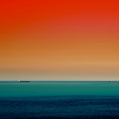 The Sea Under the Red Sky (Olli Keklinen) Tags: blue red sea sky orange seascape abstract water colors photoshop square nikon scenery ship artistic 100v10f bookcover d200 2007 p1f1 ok6 20070114 ambientlightgroup ollik
