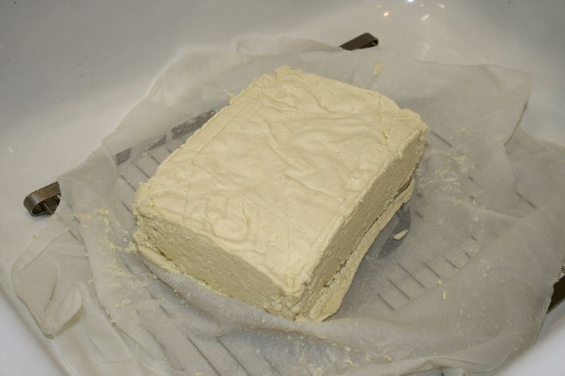 Finished brick of tofu