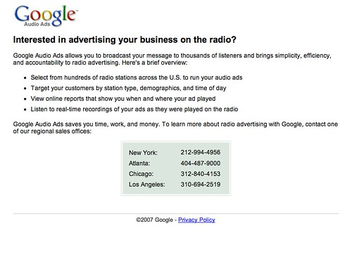 Google Audio Landing Page
