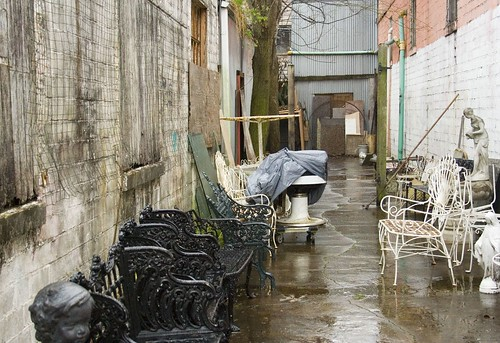 Antiques in an  Alley on a Chilly Rainy Day