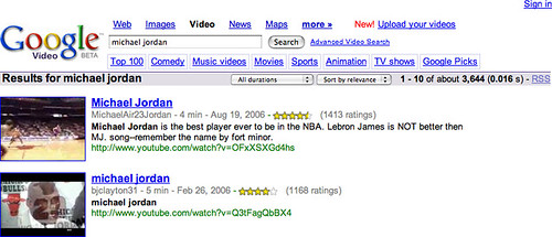 YouTube Results on Google Video Search