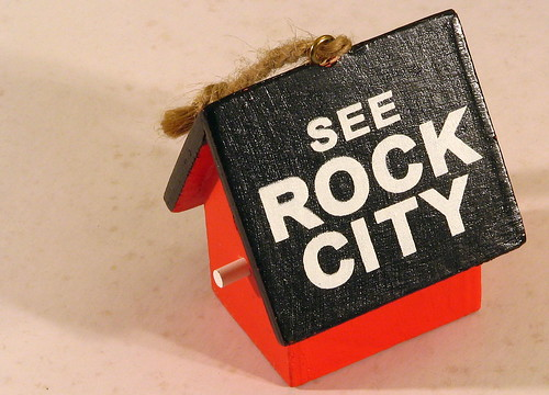 Mini See Rock City wood birdhouse ornament