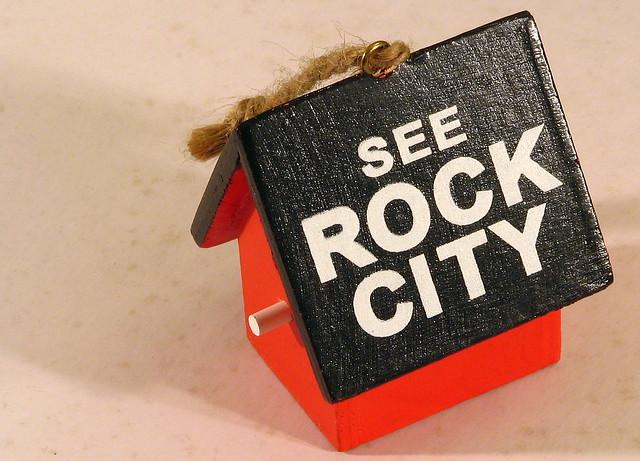 Mini See Rock City wood birdhouse ornament