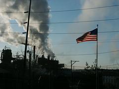 Braddock PA Flag & Smoke (KatrencikPhotoArchives) Tags: pa 2007 braddock katrencik
