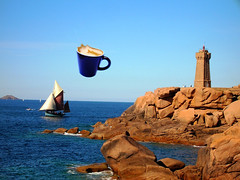 kopje koffie (opdrie) Tags: sea lighthouse seascape france water coffee topv111 photoshop landscape geotagged interestingness topv555 topv333 rocks topv1111 topv999 surreal breizh explore topv777 paysage landschap zeilboot sailingboat zeezicht helluva interestingness5 interestingness8 i500 utata:project=utatabythesea opdrie