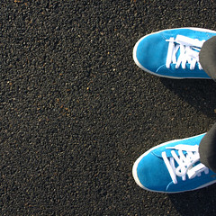 Blue power! (ole) Tags: blue france electric shoe gris clyde shoes europe background gray bleu puma asphalt suede chaussures blueteam 3ofakind nogent bluepower explored abigfave exploired ilovebluetoo