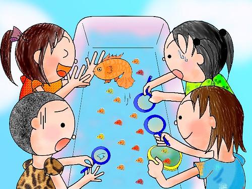 蓁妮的寒假電腦繪圖作品-撈金魚