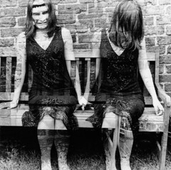the legs!!!!!!! Frankenstein on my face. (horriblecherry) Tags: girls darkroom bench sitting mask surreal double disturbing stringe haircoveringface 1940sdress