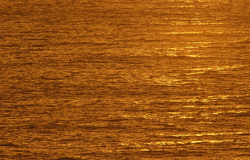 Golden-tinted ocean water