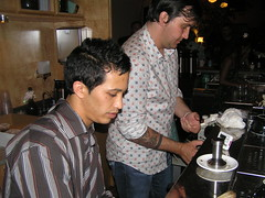 at work (dogmilque) Tags: ritual coffee roaster opening party stumptown bluebottle ecco caffè espresso drunk