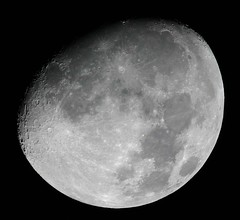 "Gibbous moon - click ""ALL SIZES"" (edhiker) Tags: sky moon topv111 night canon ilovenature rebel mond bestviewedlarge luna telescope telephoto astrophotography lua astronomy moonshot crators edhiker 8in best100"