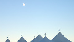tents & moon (lawatt) Tags: sanfrancisco sky moon tents kaboom traveler creamme