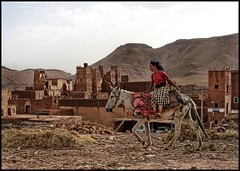 Ouarzazate, Morocco (shadowplay) Tags: girl donkey morocco berber casbah ouarzazate makingthemovie locationscout