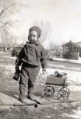 The Car Thief (gem66) Tags: bw me childhood colorado child denver thief oldphoto gary min zenobia snowsuit mystory mychildhood yellowcar kiddiecar firstthought favekids