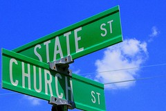 the intersection of church and state (Ben McLeod) Tags: road street blue sky cloud green sign geotagged interestingness published newhampshire fv10 roadsign intersection concord churchstreet ironic statestreet geo:lat=43213867 geo:lon=71542896