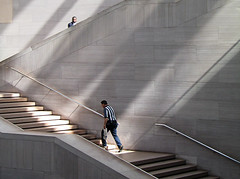 Into the light (Lil [Kristen Elsby]) Tags: light shadow sunlight museum architecture stairs washingtondc staircase artmuseum topv4444 topf100 nationalgalleryofart ascend impei rayoflight eastwing eastbuilding