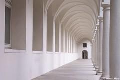 White Corridor (_Marcel_) Tags: white architecture germany dresden vanishingpoint gang corridor architektur topf weiss perspektive topi sulen sulengang top20fav fluchtpunkt