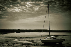 (Ichor) Tags: art digital dutone tritone felixstowe suffolk uk england boat mud coast seaside rural yaught bw blackandwhite mast sky overcast mc04 mc04submission01epicsky