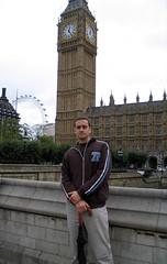 Cyril + Ben. (top pocket man) Tags: europe trip 2004 london england cyril bigben clock millenium wheel