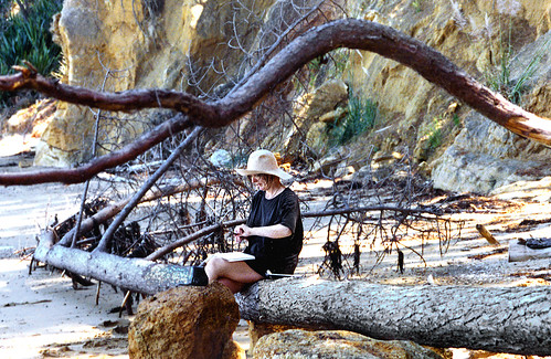 Elspeth sketching on Kawau Island, New Zealand 1992