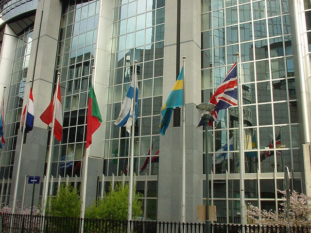 Flags outside the European Parliament