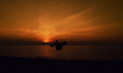 Setting the sun (dallehi) Tags: sunset beautiful red glow glowing warm yellow colorful color colors fantastic backflip sun portrait acrobatics gymnastics art creative fineart adventure explorer dallehj daniel jensen silhouette