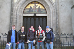 Group Shot before the Castle Church Door (crbassett) Tags: door travel history me church germany eric europa europe kirche backpacking abe caleb kirk wittenberg luther reformation castlechurch joshzarling