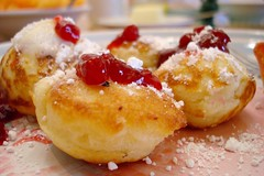 Aebleskivers (Heather Leah Kennedy) Tags: food pancakes breakfast sugar danish pancake jam lingonberry powdered aebleskivers aebleskiver