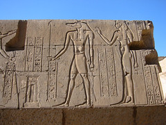 Bring Your Own Ankh (MykReeve) Tags: woman stone wall female temple egypt carving blocks block hieroglyphics komombo komombotemple sobek