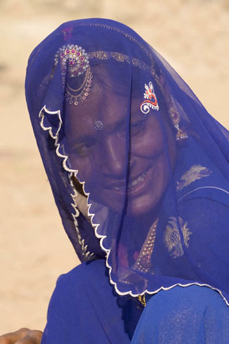 Rajasthani Married Woman in Blue at Pushkar Cattle Fair
