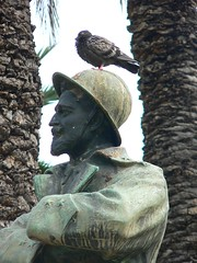 Pigeon Perch (Clear Lady) Tags: sculpture bird statue soldier pigeon verdigris profile helmet perch sicily palermo