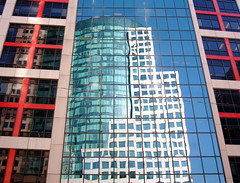 One Building Reflecting Another (Musical Mint) Tags: city windows urban toronto ontario canada reflection building architecture skyscraper mirror downtown landmarks cbcbuilding torontolandmarks musicalmint