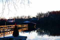 Christmas On Ellserlie Lake  (mightyquinninwky) Tags: christmas wood trees sky reflection water clouds pier dock december kentucky fave lexingtonky richmondroad waterscape fayettecounty centralkentucky bfv1 landscapebfv1 naturebfv1 coveredboatslip ellserlielake