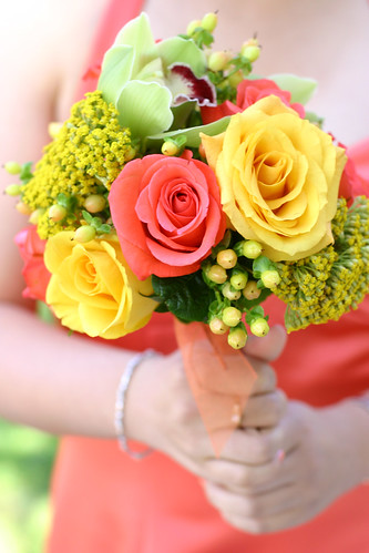 Yellow Pink Roses Bridesmaid Bouquet