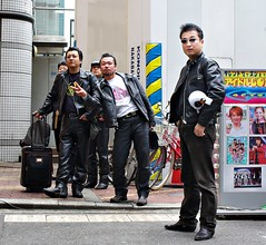 Fake Bozozouko (JanneM) Tags: city autumn black leather japan poser jan fake   biker osaka kansai doutonbori  morn moren k10d janmoren janmorn