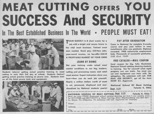Vintage Ad #106 - Meat Cutting Offers You Success and Security