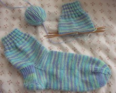 One Finished sock and one WIP sock as of 12/17/06