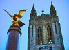 the golden eagle (richietown) Tags: tower clock topv111 statue boston canon gold topv555 topv333 eagle spires massachusetts topv1111 gothic stock topv999 spire getty topv777 eagles hdr 28135mm newton bostoncollege jesuit 30d chestnuthill bostonist gassonhall 3xp universalhub gasson bostonphotos bostonphotographer richietown bostonphotography bostonphoto bostonphotographs