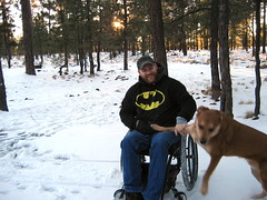 Where did this come from? (DustySigns76) Tags: christmas arizona dog lake snow smile hat pine forest self beard chopper woods wheelchair canyon jacket craig batman rim campground payson mogollon