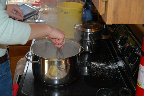 The Swedish Chef tosses flour into the gravy -- and all over the stove